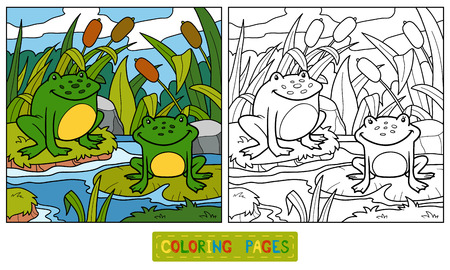 Illustration pour Coloring book for children (two frogs and background) - image libre de droit