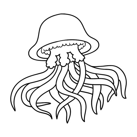 Illustration pour Coloring book for children (jellyfish) - image libre de droit