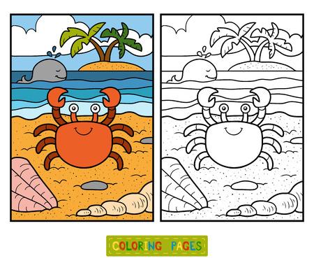 Foto de Coloring book for children with cute animals (crab and background) - Imagen libre de derechos