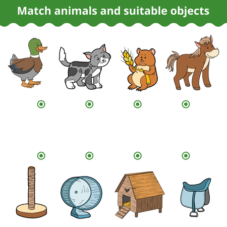 Matching game for children, education game. Match animals and suitable objects