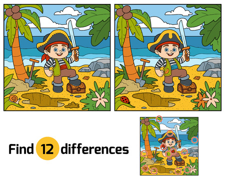 Illustration pour Find differences, education game for children. Pirate and treasure chest on a tropical island - image libre de droit
