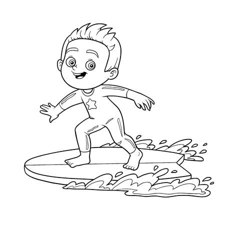 Illustration pour Coloring book for children. A boy riding a surf - image libre de droit
