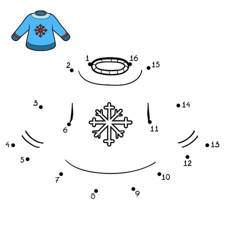 Ilustración de Numbers game, education dot to dot game for children, Pullover with snowflake - Imagen libre de derechos