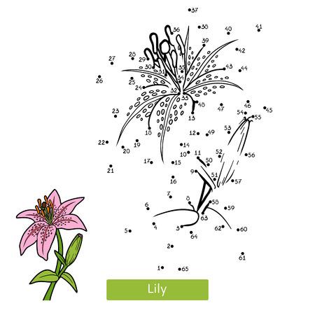 Ilustración de Numbers game, education dot to dot game for children, flower Lily - Imagen libre de derechos