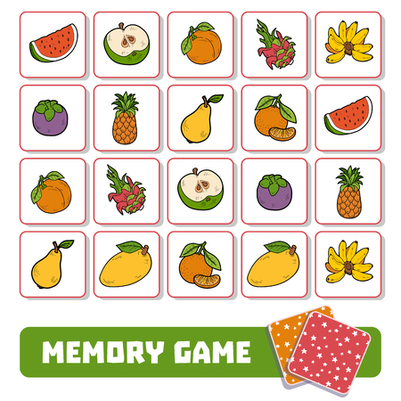 Memory game for preschool children, vector cards with fruits