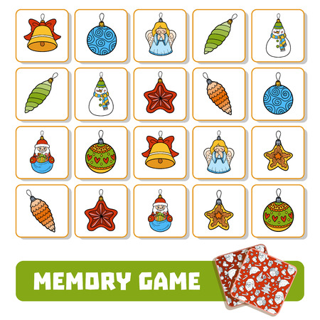 Memory game for preschool children, vector cards with Christmas tree toys