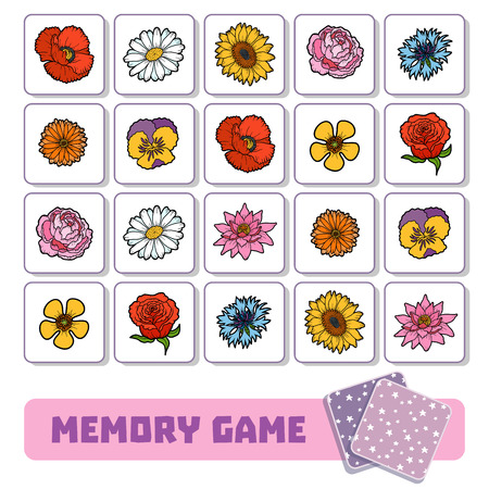Memory game for preschool children, vector cards with flowers