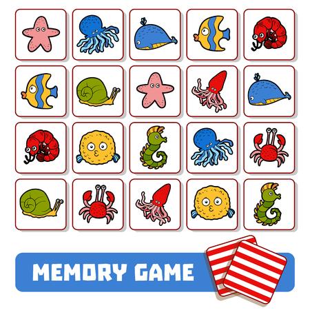 Illustration pour Memory game for preschool children, vector cards with sea animals - image libre de droit