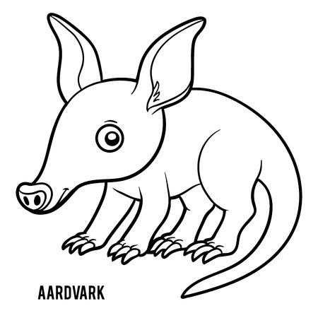 Illustration pour Coloring book for children, Aardvark - image libre de droit