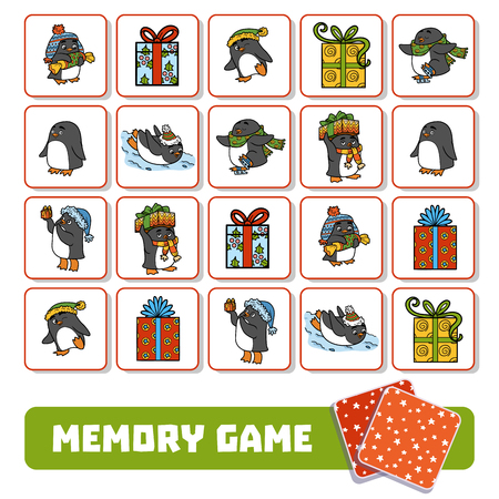 Memory game for children, cards with penguins and Christmas gifts