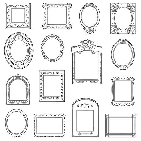 Illustration pour Black and white set of frames vector. Hand drawn decorative cartoon photo frames. - image libre de droit