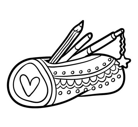 Illustration pour Coloring book for children, Pencil case - image libre de droit