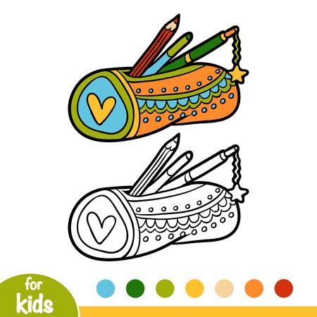 Illustration pour Coloring book for children, Pencil case isolated on  plain background. - image libre de droit