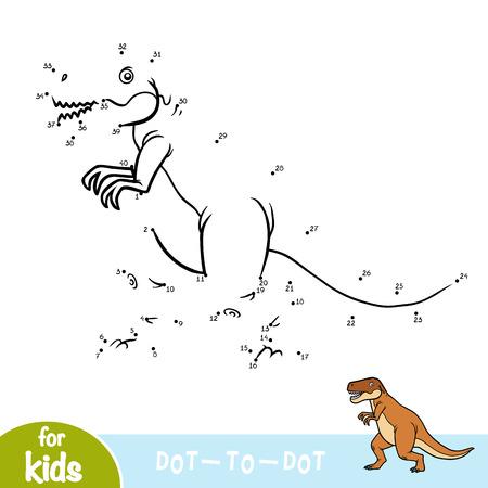 Ilustración de Numbers game, education dot to dot game for children, Tyrannosaurus - Imagen libre de derechos