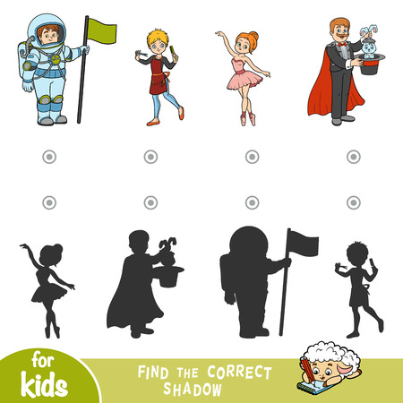Find the correct shadow, education game for children. Cartoon set of professions - Illusionist, Ballerina, Hairdresser, Astronaut