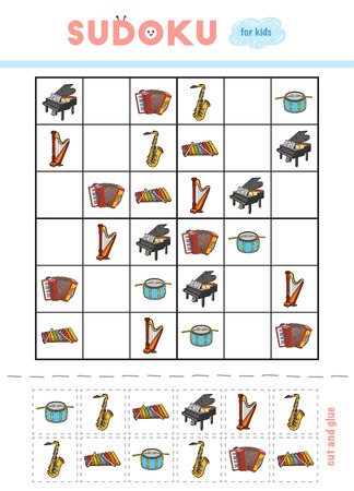 Illustration pour Sudoku for children, education game. Musical instruments - Saxophone, Xylophone, Accordion, Grand piano, Pedal harp, Drum. Use scissors and glue to fill the missing elements - image libre de droit
