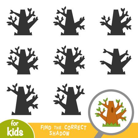 Illustration pour Find the correct shadow, education game for children, Oak tree - image libre de droit