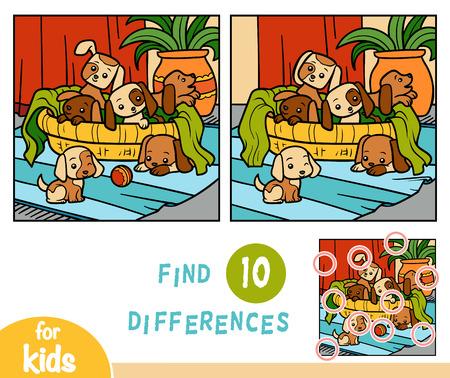 Illustration pour Find differences education game for children, Six dogs - image libre de droit
