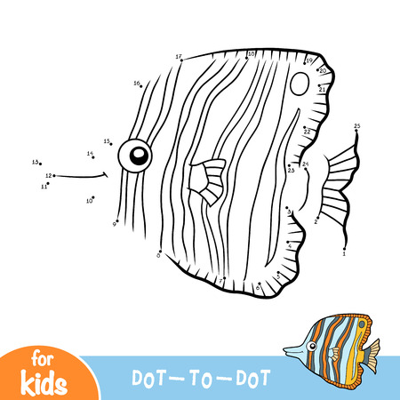 Numbers game, education dot to dot game for children, Copperband butterflyfish