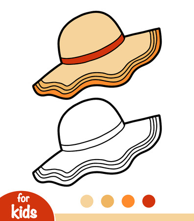 Illustration for Coloring book for children, cartoon headwear, Capeline hat - Royalty Free Image