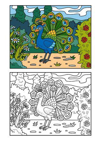 Illustration pour Coloring book for children, Peacock in the royal park - image libre de droit