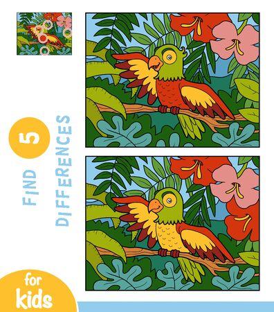 Illustration pour Find differences, educational game for children, Parrot on a branch in the rainforest - image libre de droit