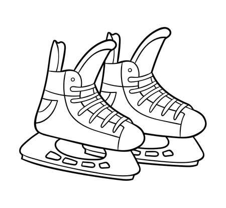 Illustration pour Coloring book for children, Ice hockey skates - image libre de droit