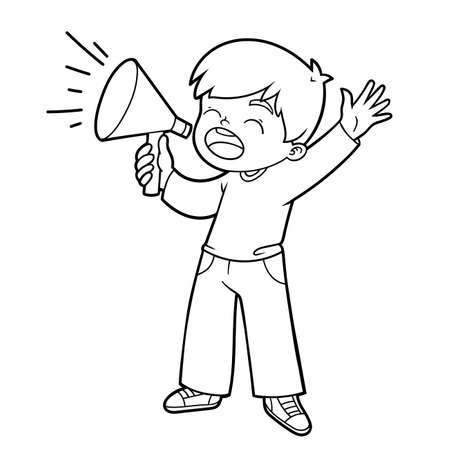 Illustration pour Coloring book for children, Boy shouting through a megaphone - image libre de droit