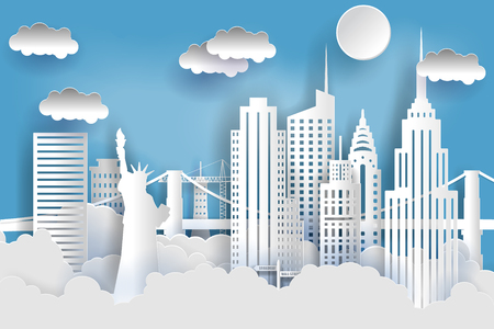 New York city concept, paper art city on back with buildings, statue of liberty, bridge, clouds. Origami and travel concept, vector art illustration.