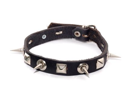 Leather collar with  metal spikes