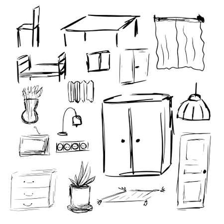 Illustration pour Outline hand drawn sketch of furniture and interior design elements. Vector illustration - image libre de droit