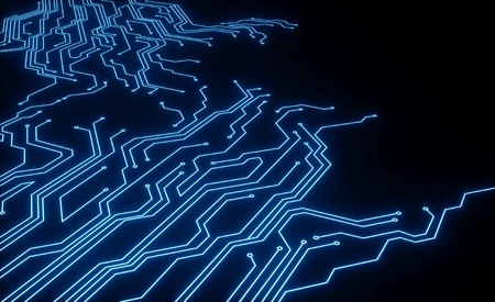 Foto de Micro scheme elements design. Abstract technology, IT thematic background.Hi-tech digital technology concept. - 3d render - Imagen libre de derechos