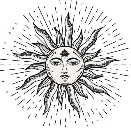 Ilustración de Beautiful romantic elegant sun face symbol Tattoo design.Vector illustration. Alchemy symbol - Imagen libre de derechos