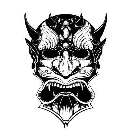 Illustration pour Hand drawn demon mask devil with horns - image libre de droit