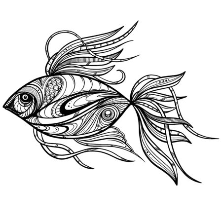 Illustration pour Hand-drawn fantasy fish with ethnic doodle pattern. Coloring page - zendala, for relaxation and meditation for adults, vector illustration, isolated on a white background. Zendoodle. - image libre de droit