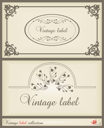 Vintage brown label frame vector background