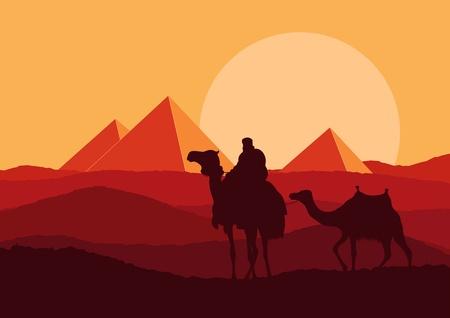 Camel in wild Africa pyramid landscape illustration