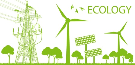Ilustración de Wind alternative energy generator green vector background - Imagen libre de derechos