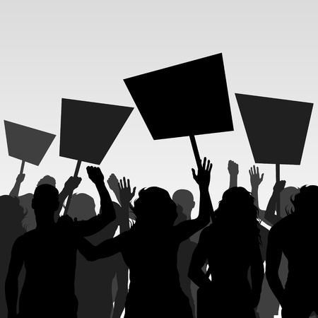 Protesters crowd vector background