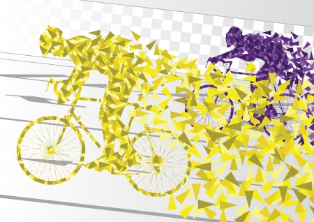Illustration pour Sport road bike riders bicycle silhouettes in urban city road background illustration vector - image libre de droit