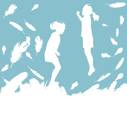 Illustration pour Kid jumping in feathers vector background with copy space for text - image libre de droit