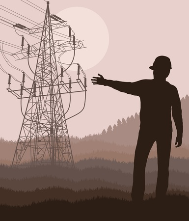 Power high voltage tower with engineer in front of it