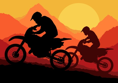 Motorbike riders motorcycle silhouettes in wild mountain landscape background illustration vector