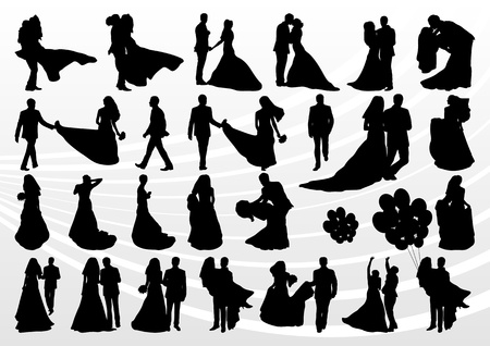 Illustration pour Bride and groom in wedding silhouettes illustration collection background vector - image libre de droit