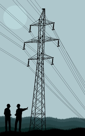 Power line and engineers in front of it vector background