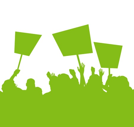 Green people protest, picket against pollution