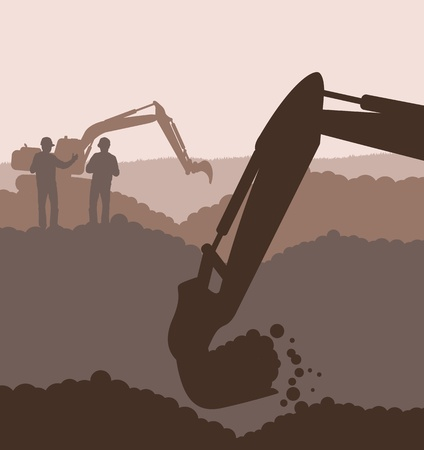 Excavator loader at construction site with raised bucket background