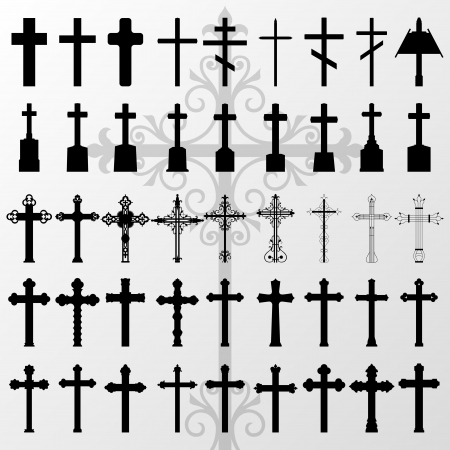 Vintage old cemetery crosses and graveyard cross silhouettes detailed illustration collection background vector