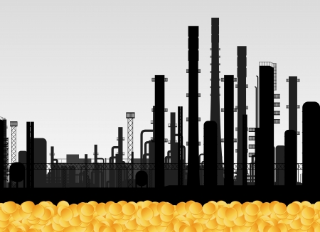 Oil factory and golden coins vector background concept
