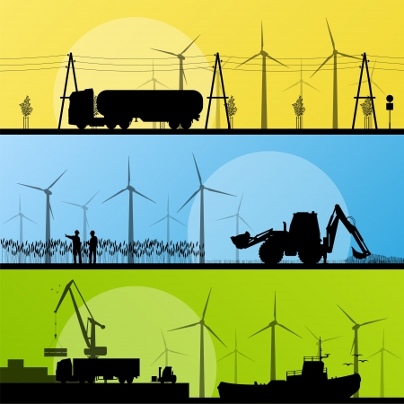 Wind electricity generators and windmills in countryside village and in ocean sea harbor landscape ecology illustration background vector